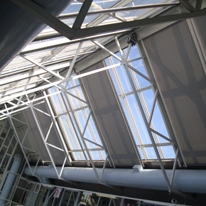 400 sqm of rooflight, shaded with Acoustis 50