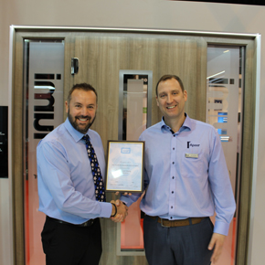 Andrew Glover (left) presents Asa McGillian with GGF Membership Certificate at FIT Show 2016