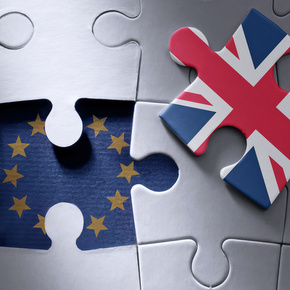 European flag jigsaw piece with British flag missing piece