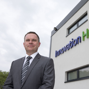 ANDREW KERR, MANAGING DIRECTOR OF CMS WINDOW SYSTEMS PHOTOGRAPHED AT THEIR NEW INNOVATION HUB