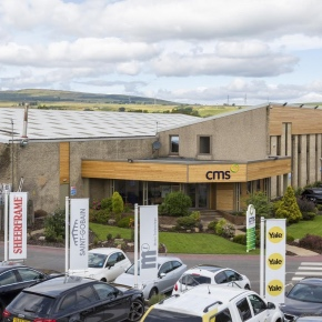 Exterior view of the CMS Window Systems HQ at Castlecary, near Cumbernauld.