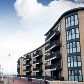 Walker Profiles fabricated and installed Anthracite grey windows and doors in the seafront Harbour Green development in Portobello