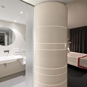 The shower acts as a partition between the bathroom and bedroom areas.