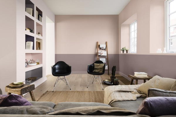 Dulux Heart Wood Home CF18 __Blossom Tree, Rose Bark - shelves in Pine Cone, Fallen Burr, Pink Parchment, Heart Wood, Blackberry