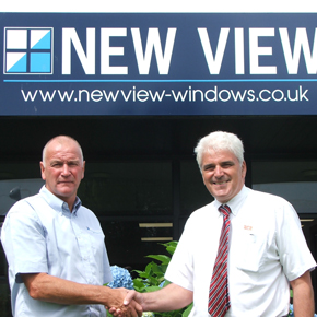 New View Windows Managing Director, Tony Braddon, with Rod Johnson, Technical Sales Advisor at SFS intec