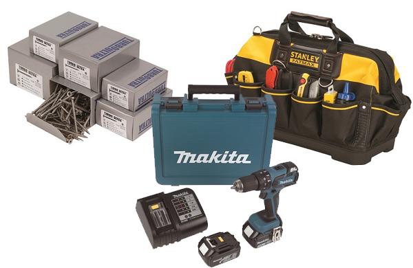 Screwfix summer catalogue (L-R: Turbo-Ultra Woodscrews trade pack;Makita 18V 3.0AH LI-ION LXT Brushless Cordless Combi Drill;  Stanley Fatmax Hard Base tool bag)