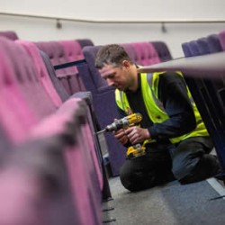 Novus' team carries out refurbishment work at university lecture theatre
