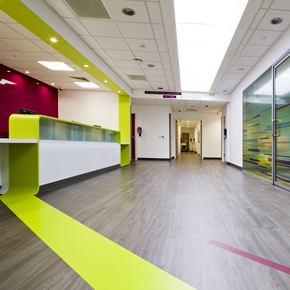 Coloured vinyl flooring for Chorley Hospital's Urgent Care Centre