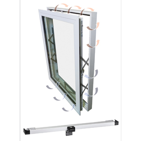 Kawneer assisted-opening window with GEZE slimchain