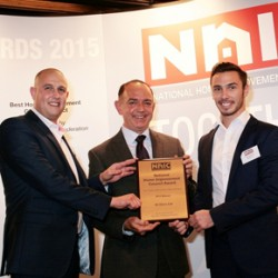 IQ Glass receiving the Best Home Improvement Glazing Project Award at the NHIC Awards
