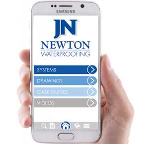 Newton Waterproofing App on a Samsung Galaxy