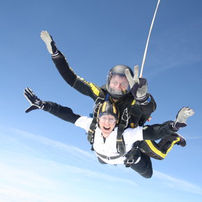 REHAU's Marketing Communications Manager Irene Smith pictured during the charity skydive