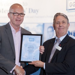 Roy Frost (left) receives Membership Certificate at GGF Members Day from Nigel Rees