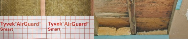 Damage to a structure without smart protection vs a structure protected by Tyvek® AirGuard® Smart