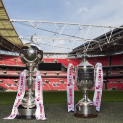LONDON, ENGLAND - AUGUST 16:  The Buildbase FA Trophy and the Buildbase FA Vase are pictured during the Buildbase Partnership Launch at Wembley Stadium on August 16, 2016 in London, England. (Photo by Alex Broadway - The FA/The FA via Getty Images)