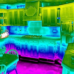 A typical thermal image which demonstrates the patterns that iRed need to determine: notice the large gradient from floor to ceiling.