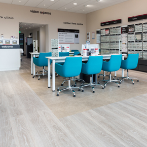 Polyflor Commercial PUR vinyl flooring at a Vision Express store