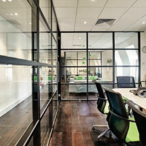 Glass is increasingly being introduced to achieve the right balance of accessibility and privacy, adding space and light to office environments - Rachel Sullivan CCF
