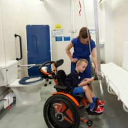 Sarah and Hadley using a Space to Change toilet at Portsmouth International Port