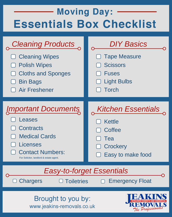 Moving home the essentials checklist for House essentials list