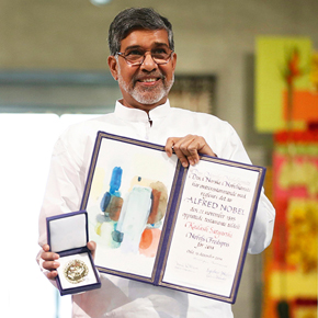 Nobel Peace Prize laureate Kailash Satyarthi poses with his medal during the Nobel Peace Prize awards ceremony