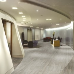 Osborne Clark, London, United Kingdom. Architect: MOREY SMITH, 2005. OSBORNE CLARK GENERAL VIEW OF RECEPTION AND CURVED WALL.