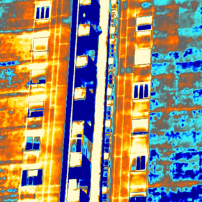 Thermographic inspection assessing the condition of plaster coating