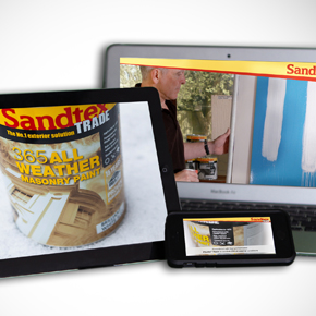 Sandtex 365 masonry paint showcased on mobile devices