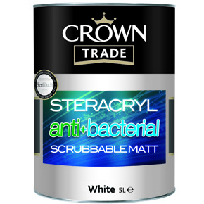 Crown Trade Steracryl anti-bacterial scrubbable matt coating