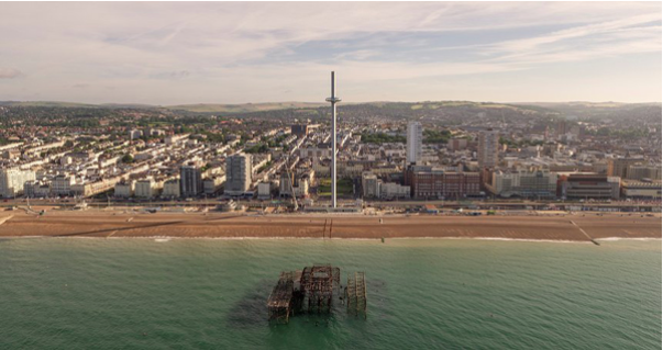 A drone image of the British Airways i360