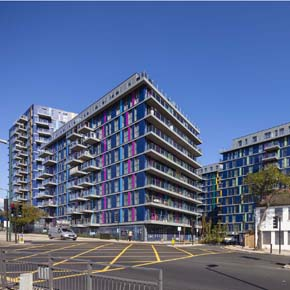 Exterior of 243 Ealing Road development, featuring Aluprof curtain walling and windows