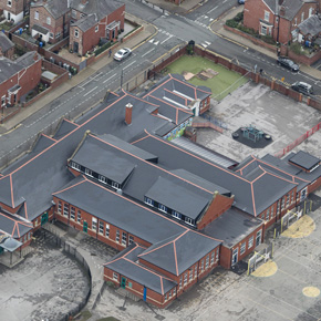 Aerial view of Gorse Hill School roof refurbishment