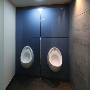 Bespoke toughened back-painted iGlass and integrated duct panels.