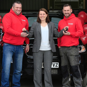 Brad Shutlar from Alpha Building Services, Buildbase Managing Director Kate Tinsley and Paul Whitehead from Alpha Building Services