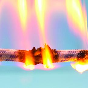 one burning cable on blue background isolated