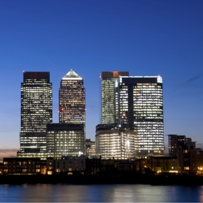 Canary Wharf area of London at sunset.