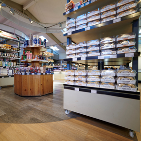 Expona Design luxury vinyl tiles in Natural Brushed Oak and Silvered Driftwood at The Balloon Tree Farm Shop in York