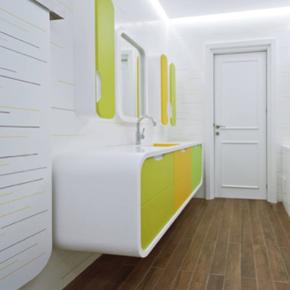 HI-MACS acrylic stone in an bathroom designed by Atva