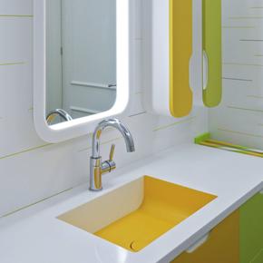 LG Hausys' HI-MACS Acrylic Stone used in a modern bathroom