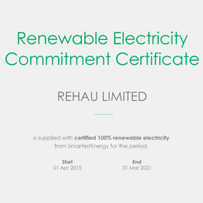 Renewable Electricity Commitment Certificate – REHAU