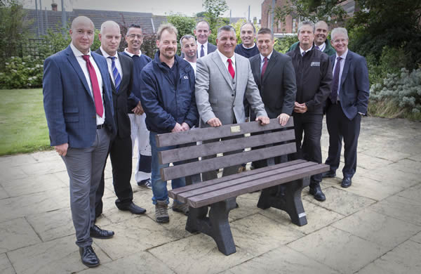 Recycled bench for St. Peter's Court