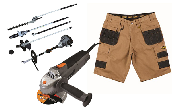Screwfix summer catalogue (L-R: 4 1/2 inch Angle Grinder; Petrol Landscaping Multi-Tool; DeWalt multi-pocket shorts)