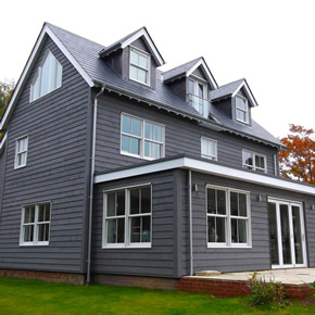 Black Millwork windows and doors at Rivercroft