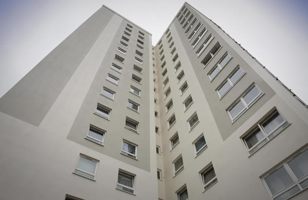 St. Peter's Court, decorated Sandtex Trade 365 All Weather Masonry Paint with