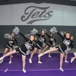 The Jets cheerleaders training in their newly repainted studio.