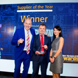 Knauf Insulation Supplier of the Year Award Tim Vine, John Gaunt Commercial Manager at Knauf Insulation and Lucia Distazio from MRA Marketing