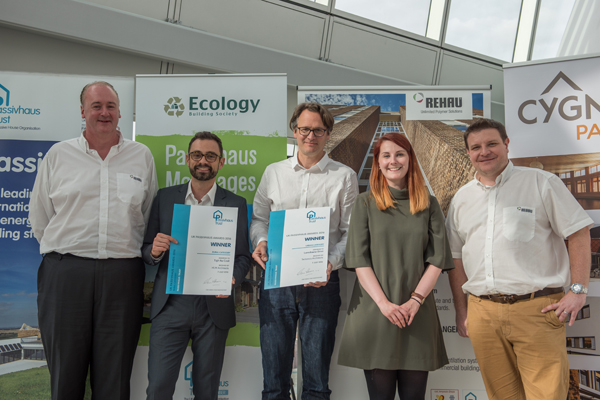 Malcolm Taylor (left) with the team from REHAU and the winning architects at the 2016 Passivhaus Awards