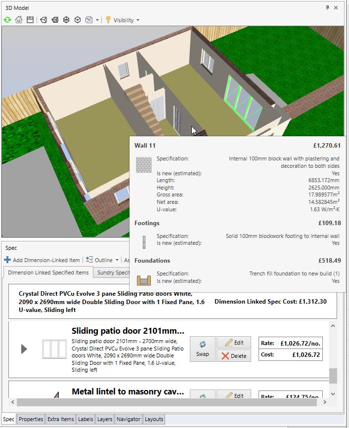 Oak Tree Ave 1 3D Floor Plan with Data