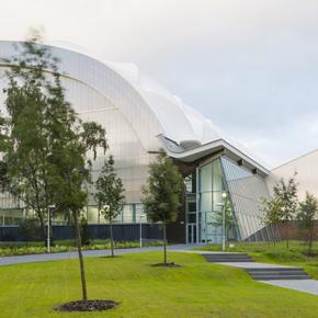 Exterior view of CMS Window Systems glasss curtain wall at ORIAM, Heriott Watt University, Edinburgh