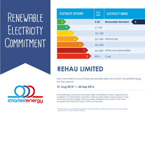 REHAU's certificate acknowledging its commitment to renewable electricity